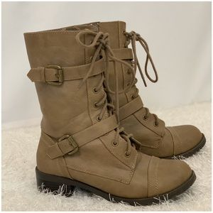 Buckled Taupe Combat Boot